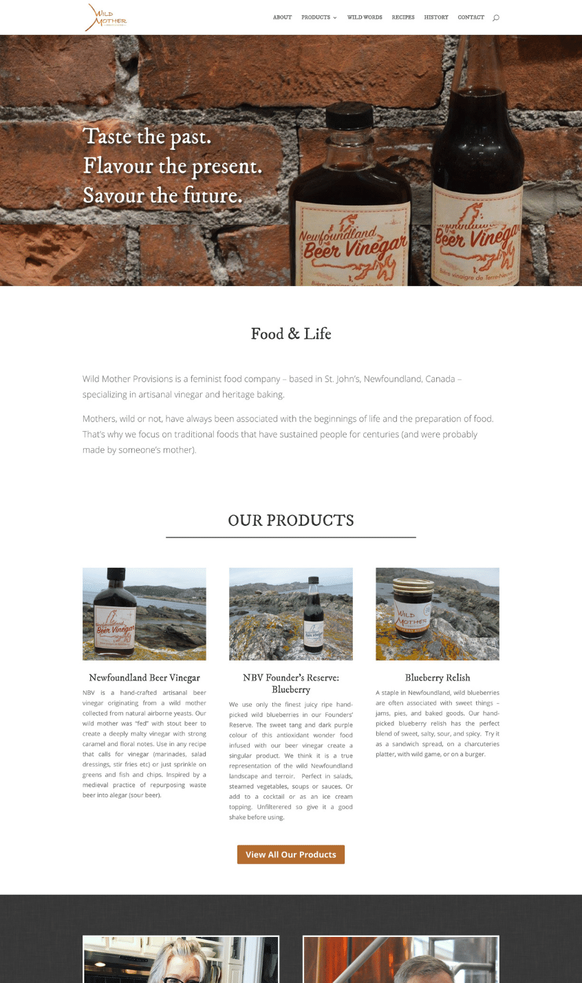 Screenshot of Wild Mother Provisions Website designed by Good Cheer Web Design in Newfoundland